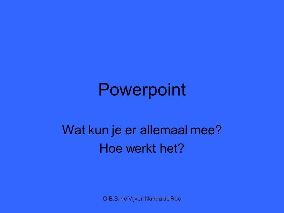 O.B.S. de Vijver, Nanda de Roo Powerpoint Wat kun je er allemaal mee? Hoe werkt het?