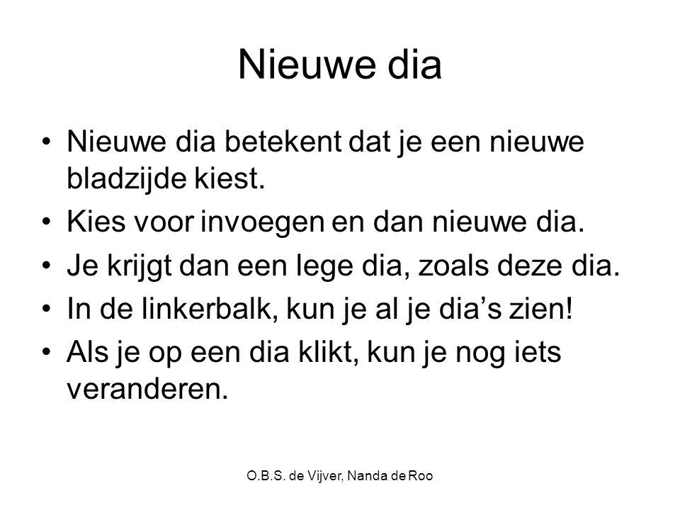 O.B.S. de Vijver, Nanda de Roo Nieuwe dia Nieuwe dia betekent dat je een nieuwe bladzijde kiest. Kies voor invoegen en dan nieuwe dia. Je krijgt dan e