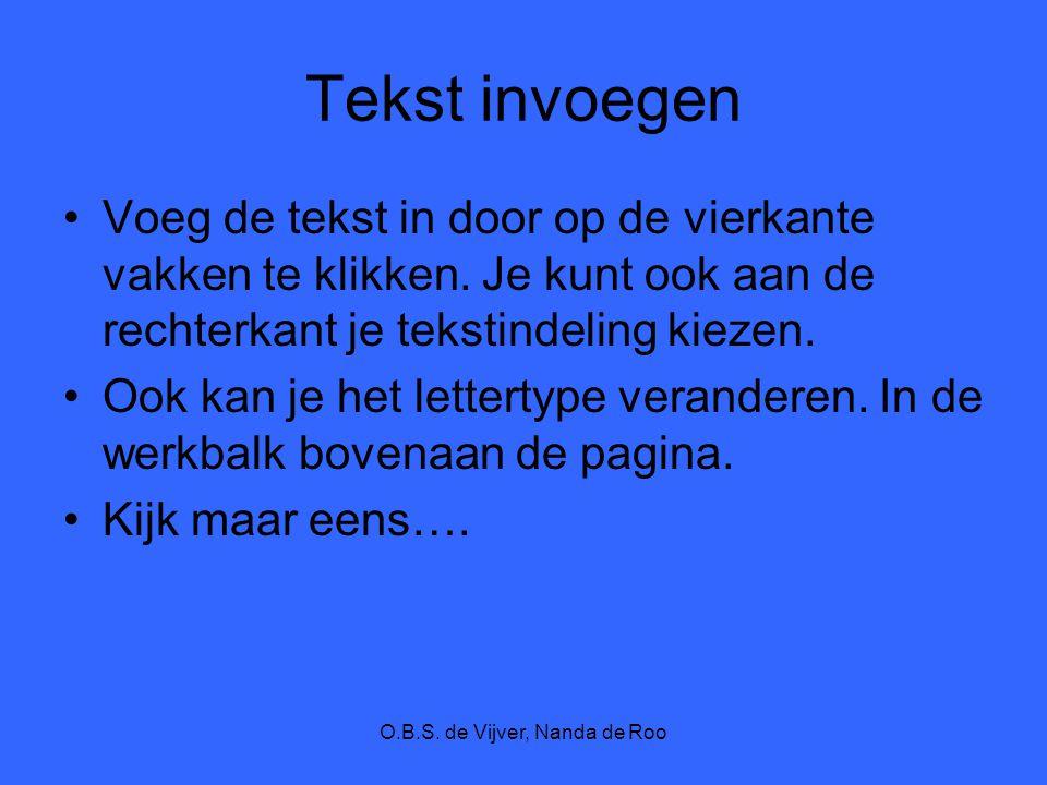 O.B.S. de Vijver, Nanda de Roo Tekst invoegen Voeg de tekst in door op de vierkante vakken te klikken. Je kunt ook aan de rechterkant je tekstindeling