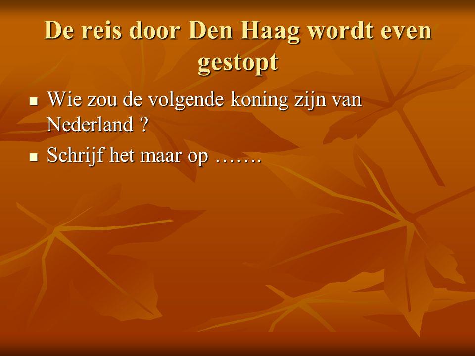 De reis door Den Haag wordt even gestopt Wie zou de volgende koning zijn van Nederland .