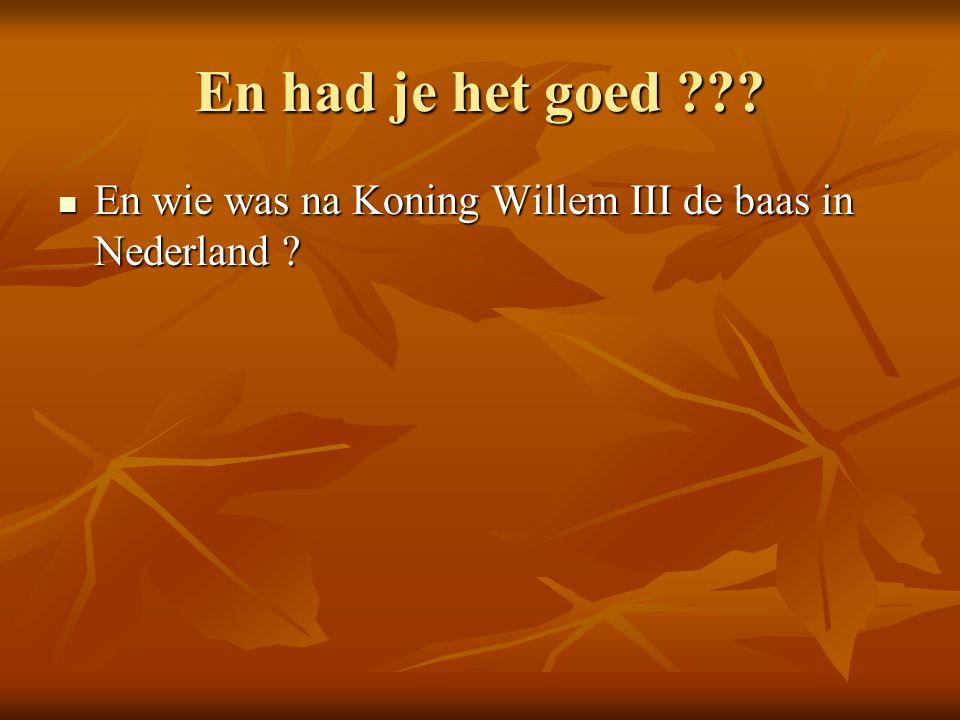 En had je het goed ??.En wie was na Koning Willem III de baas in Nederland .
