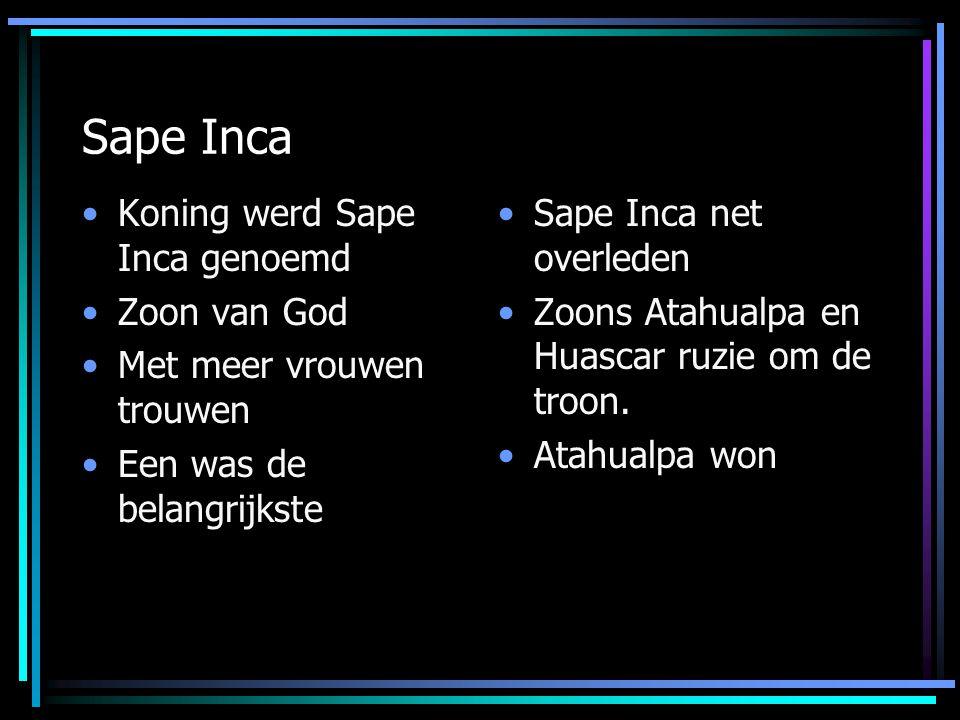 Sape Inca Koning werd Sape Inca genoemd Zoon van God Met meer vrouwen trouwen Een was de belangrijkste Sape Inca net overleden Zoons Atahualpa en Huas