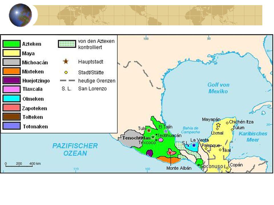 Azteken Ontvangst Spanjaarden gastvrij Koning Montezuma Terugkeer Quetzalcoatl Elke 52 jaar kans op einde Azteken