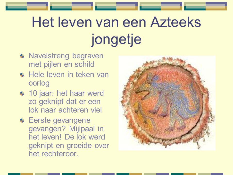 Het leven van een Azteeks jongetje Navelstreng begraven met pijlen en schild Hele leven in teken van oorlog 10 jaar: het haar werd zo geknipt dat er een lok naar achteren viel Eerste gevangene gevangen.