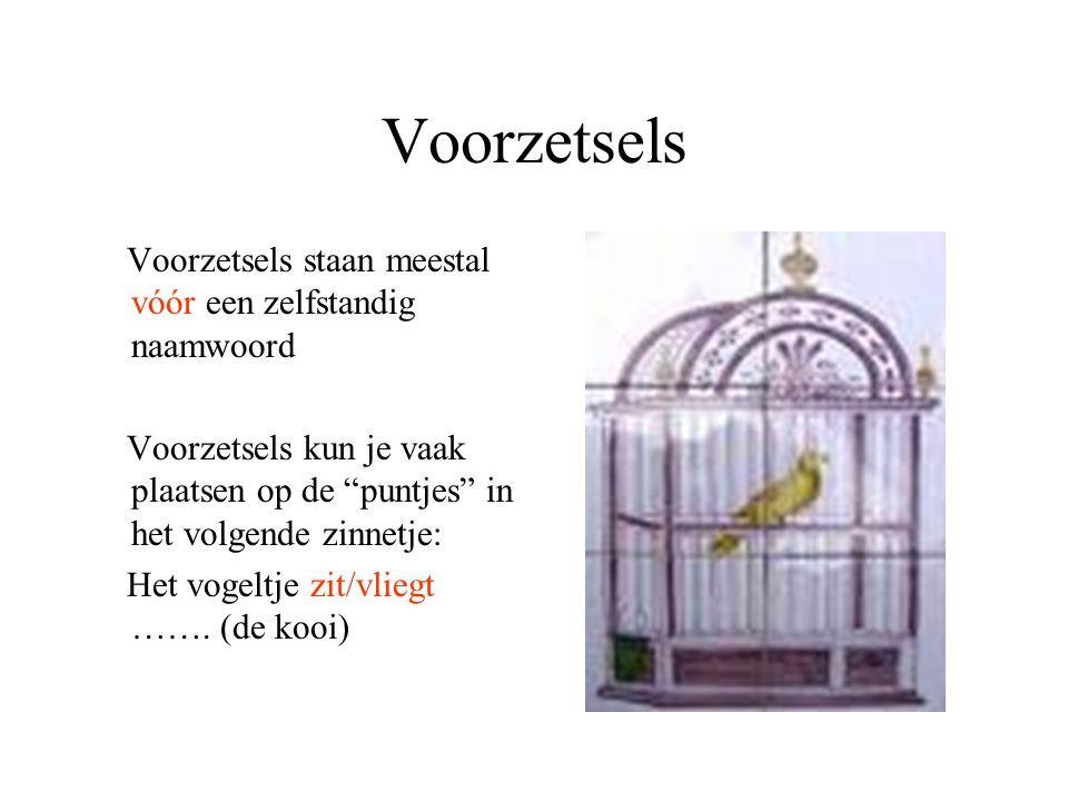 Voorzetsels Voorzetsels staan meestal vóór een zelfstandig naamwoord Voorzetsels kun je vaak plaatsen op de puntjes in het volgende zinnetje: Het vogeltje zit/vliegt …….