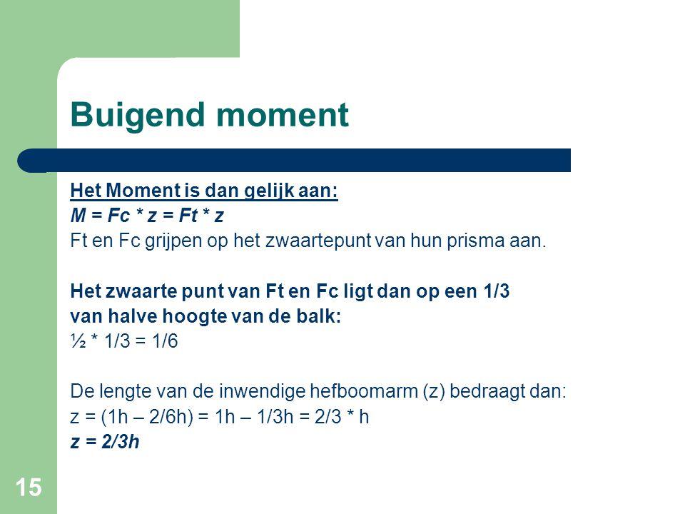 15 Buigend moment Het Moment is dan gelijk aan: M = Fc * z = Ft * z Ft en Fc grijpen op het zwaartepunt van hun prisma aan. Het zwaarte punt van Ft en
