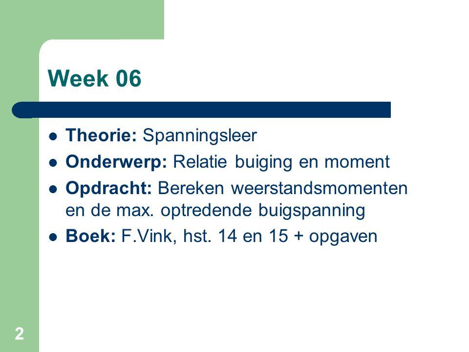 2 Week 06 Theorie: Spanningsleer Onderwerp: Relatie buiging en moment Opdracht: Bereken weerstandsmomenten en de max. optredende buigspanning Boek: F.