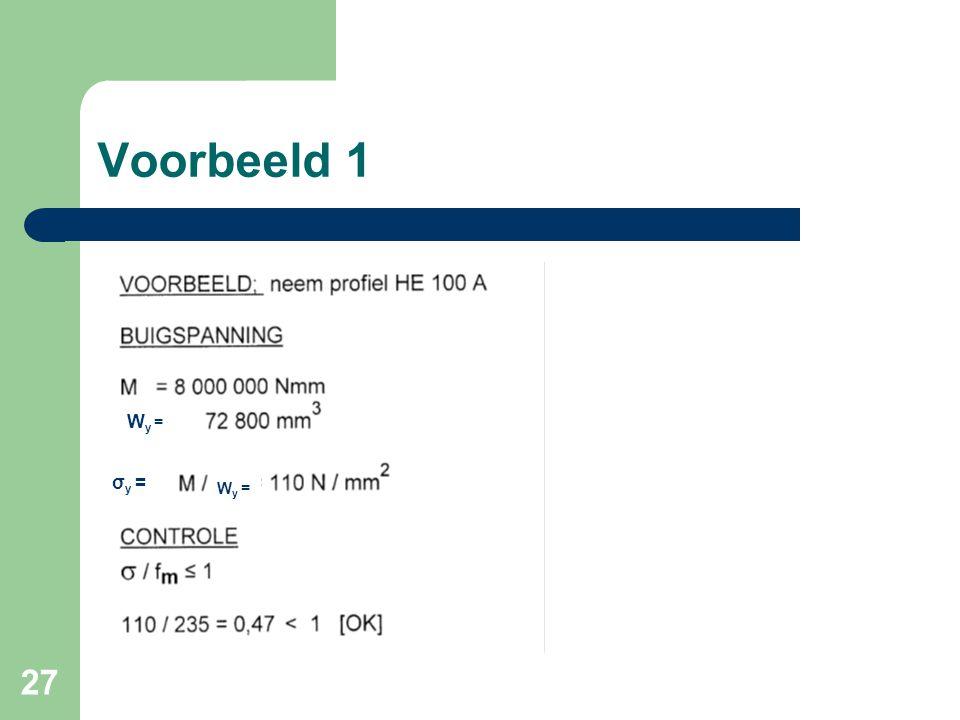 27 Voorbeeld 1 Wy =Wy = σ y = W y =