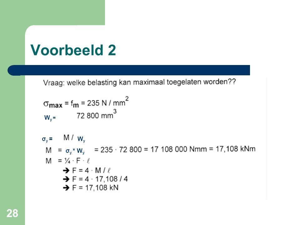 28 Voorbeeld 2 Wy =Wy = σ y =WyWy σ y * W y