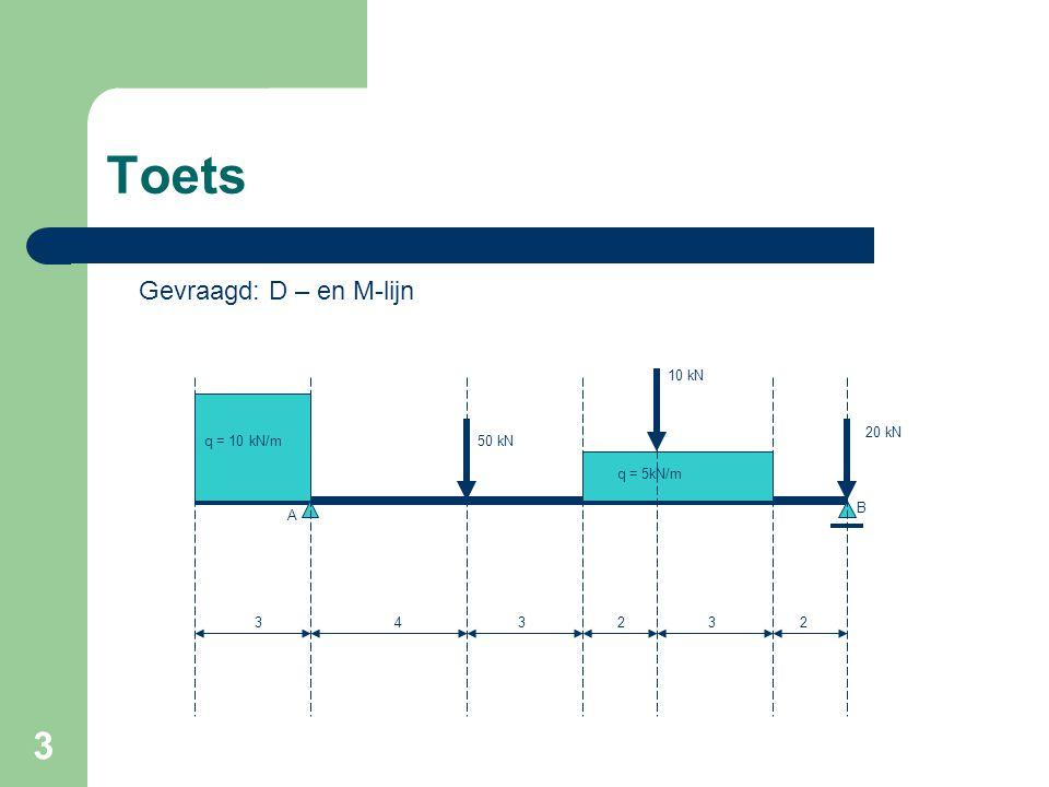 3 Toets q = 10 kN/m q = 5kN/m 50 kN 10 kN 20 kN 333422 Gevraagd: D – en M-lijn A B