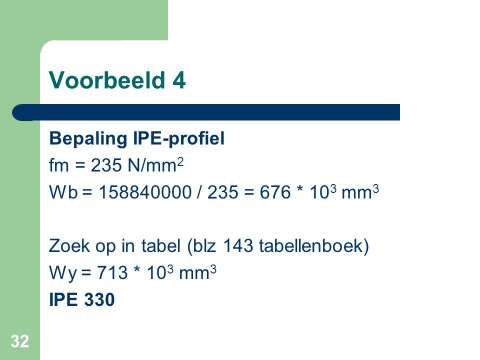 32 Voorbeeld 4 Bepaling IPE-profiel fm = 235 N/mm 2 Wb = 158840000 / 235 = 676 * 10 3 mm 3 Zoek op in tabel (blz 143 tabellenboek) Wy = 713 * 10 3 mm