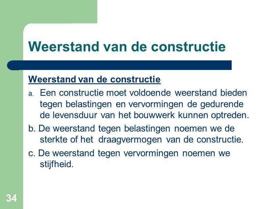 34 Weerstand van de constructie a. Een constructie moet voldoende weerstand bieden tegen belastingen en vervormingen de gedurende de levensduur van he