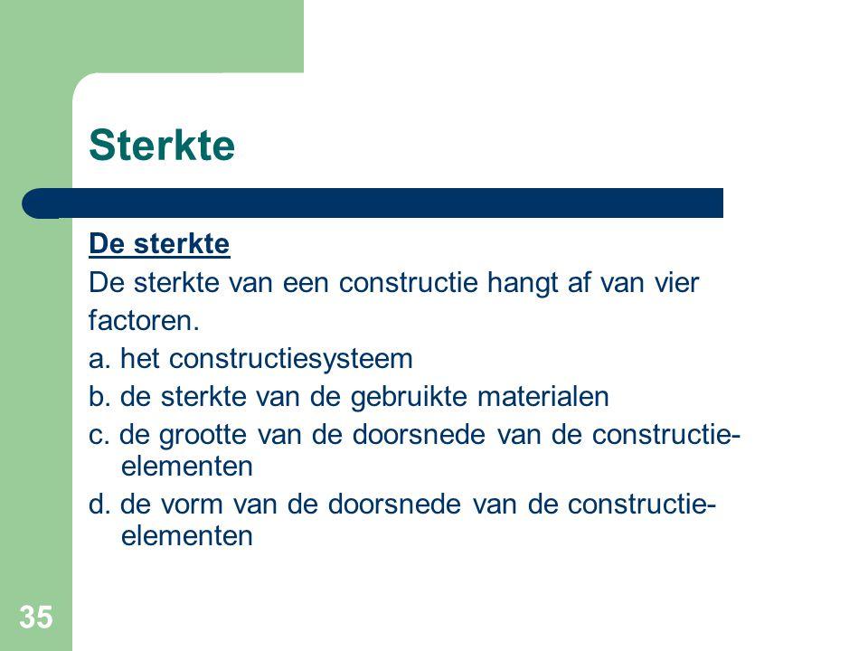 35 Sterkte De sterkte De sterkte van een constructie hangt af van vier factoren. a. het constructiesysteem b. de sterkte van de gebruikte materialen c