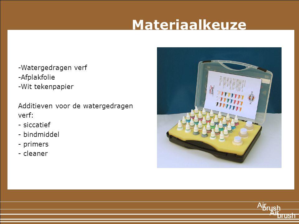 1897 -Watergedragen verf -Afplakfolie -Wit tekenpapier Additieven voor de watergedragen verf: - siccatief - bindmiddel - primers - cleaner Air brush Air Materiaalkeuze