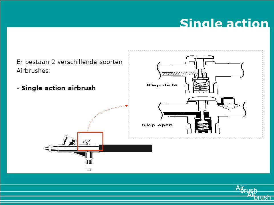 1897 Er bestaan 2 verschillende soorten Airbrushes: - Single action airbrush Air brush Air Single action