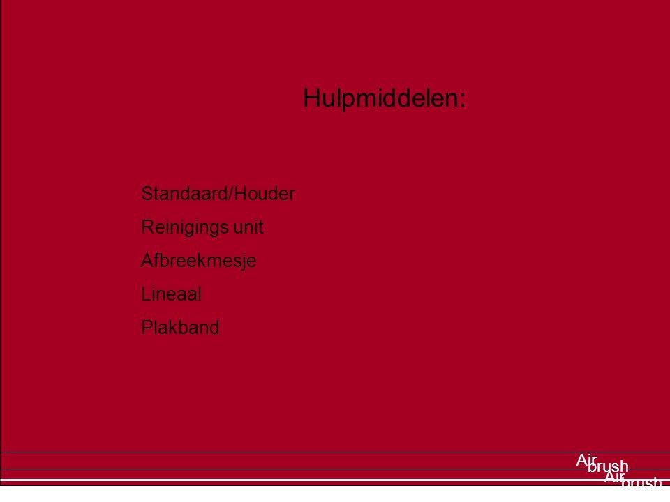Air brush Air Hulpmiddelen: Standaard/Houder Reinigings unit Afbreekmesje Lineaal Plakband