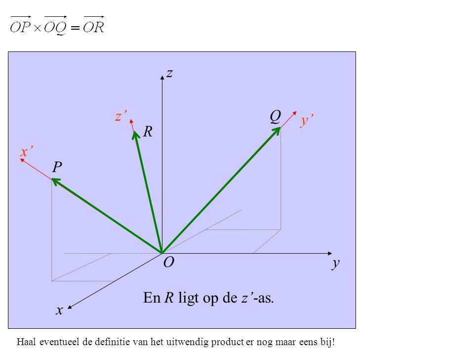 y x' x z z' y' P O Q En R ligt op de z'-as.