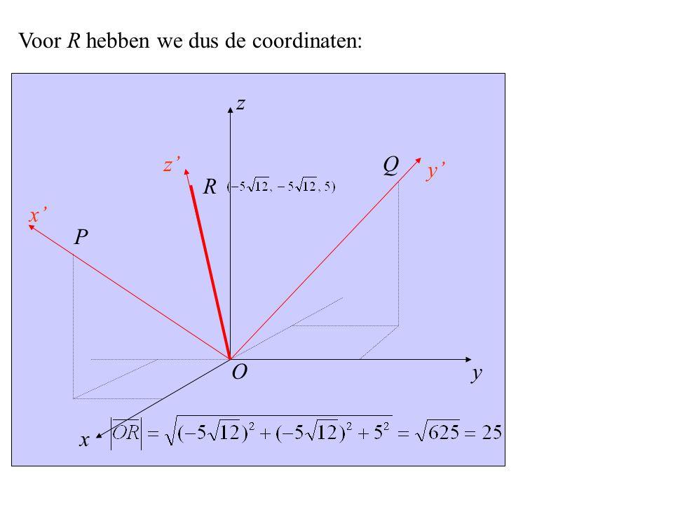 y x' x z z' y' P O Q R Voor R hebben we dus de coordinaten: