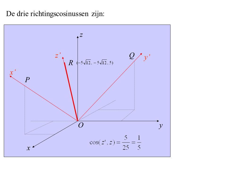 y x' x z z' y' P O Q R De drie richtingscosinussen zijn: