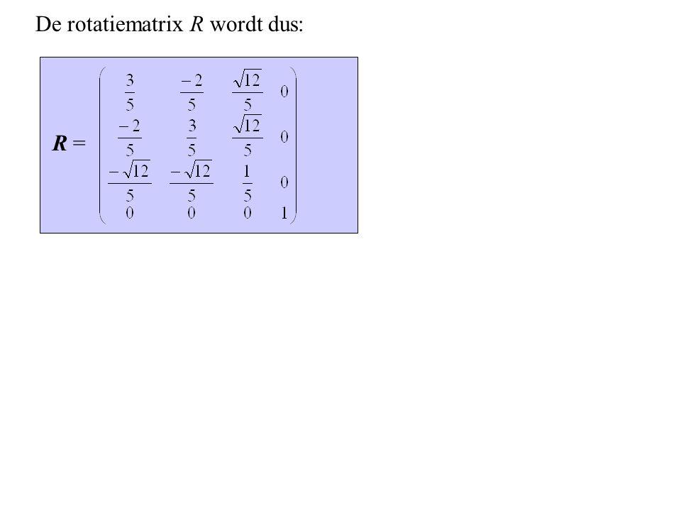 De rotatiematrix R wordt dus: R =