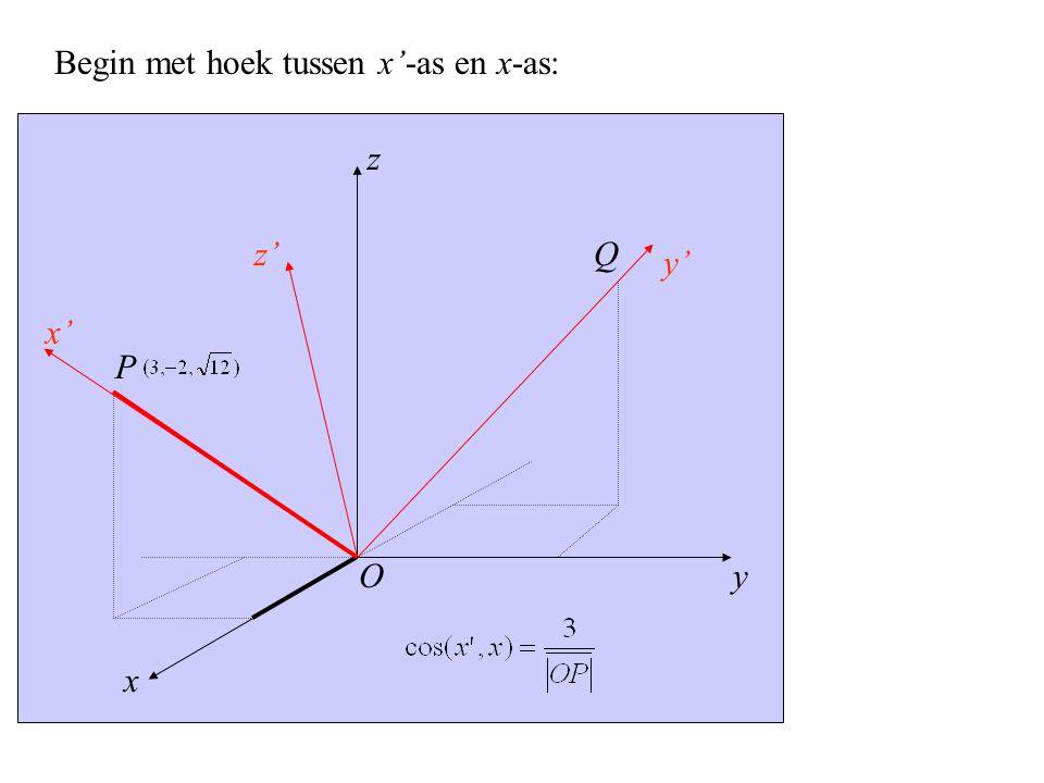 y x' x z z' y' P O Q Begin met hoek tussen x'-as en x-as:
