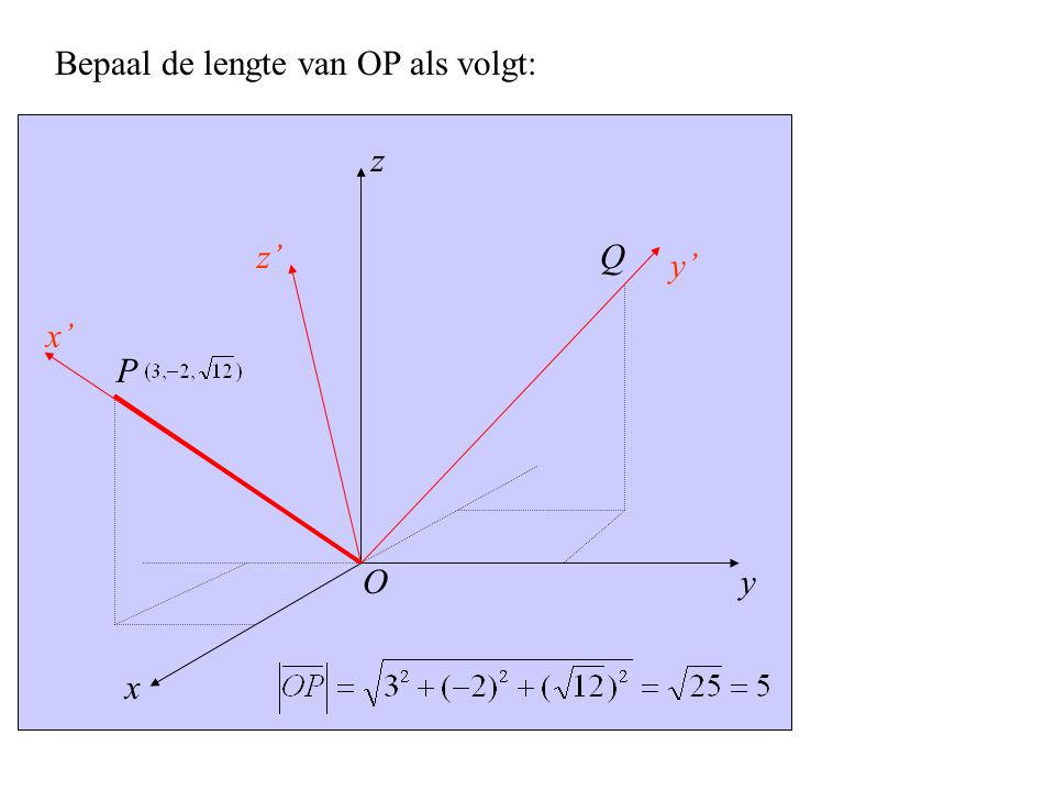 y x' x z z' y' P O Q Bepaal de lengte van OP als volgt: