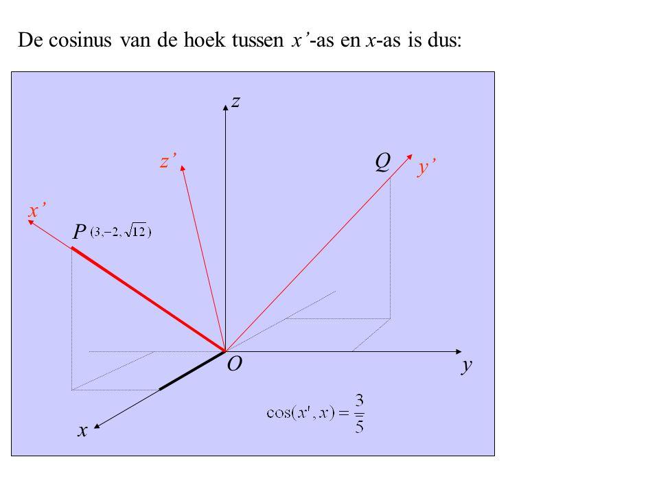 y x' x z z' y' P O Q De cosinus van de hoek tussen x'-as en x-as is dus: