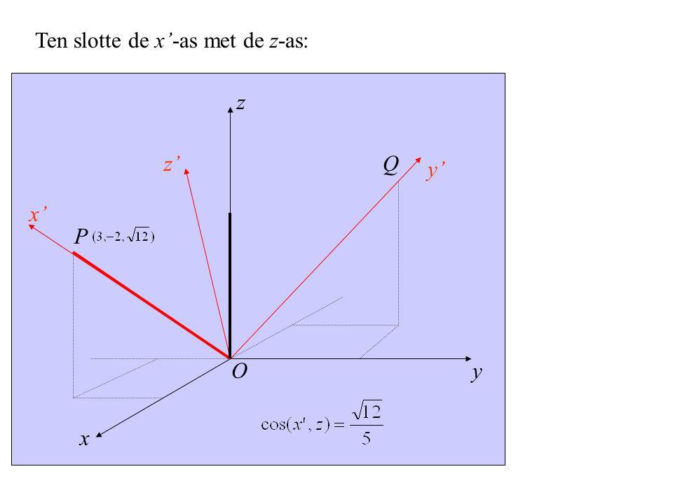 y x' x z z' y' P O Q Ten slotte de x'-as met de z-as: