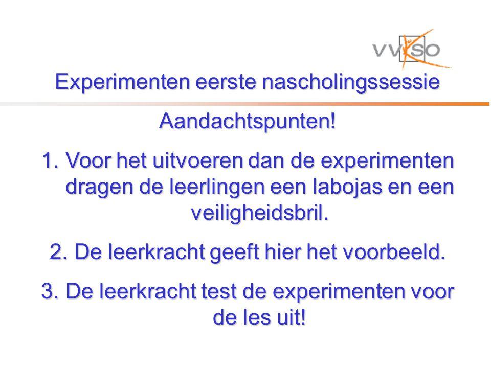 Experimenten eerste nascholingssessie Aandachtspunten.