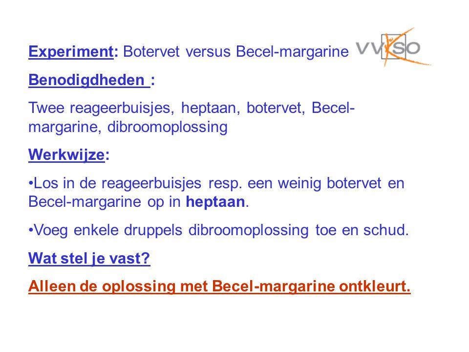 Experiment: Botervet versus Becel-margarine Benodigdheden : Twee reageerbuisjes, heptaan, botervet, Becel- margarine, dibroomoplossing Werkwijze: Los in de reageerbuisjes resp.