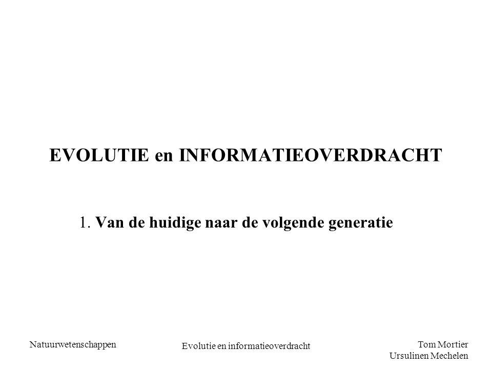 Tom Mortier Ursulinen Mechelen Natuurwetenschappen Evolutie en informatieoverdracht EVOLUTIE en INFORMATIEOVERDRACHT 1.