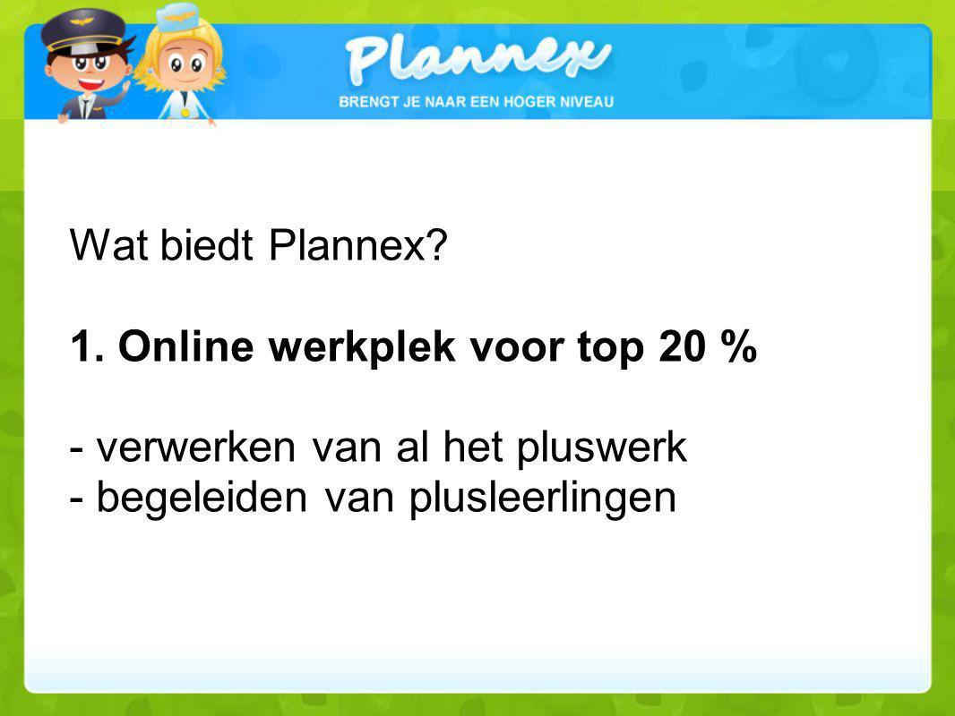 Wat biedt Plannex? 1. Online werkplek voor top 20 % - verwerken van al het pluswerk - begeleiden van plusleerlingen