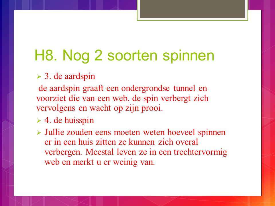 H8. Nog 2 soorten spinnen  3. de aardspin de aardspin graaft een ondergrondse tunnel en voorziet die van een web. de spin verbergt zich vervolgens en