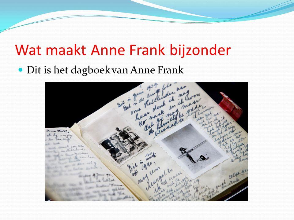 Wat maakt Anne Frank bijzonder Dit is het dagboek van Anne Frank