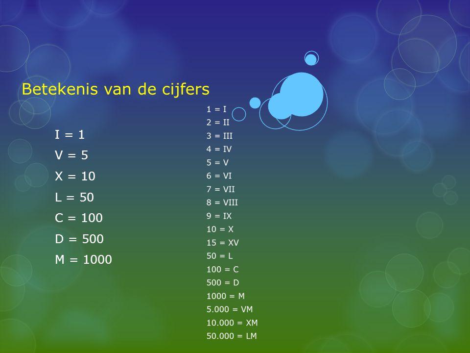 Betekenis van de cijfers I = 1 V = 5 X = 10 L = 50 C = 100 D = 500 M = 1000
