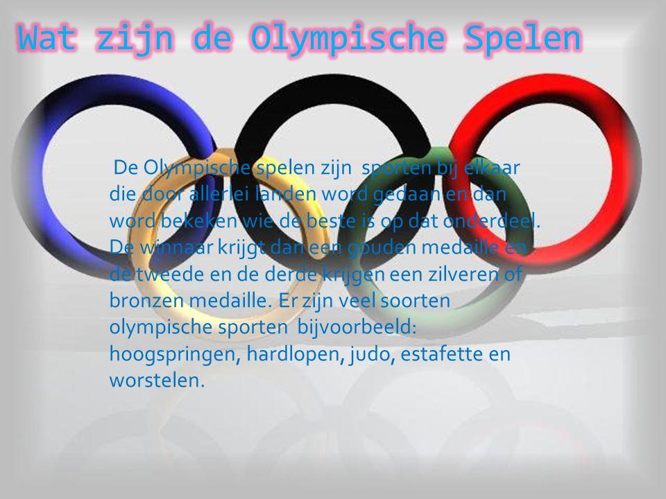 De Olympische spelen zijn sporten bij elkaar die door allerlei landen word gedaan en dan word bekeken wie de beste is op dat onderdeel.