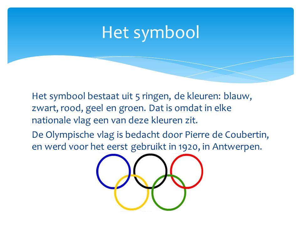 Het symbool bestaat uit 5 ringen, de kleuren: blauw, zwart, rood, geel en groen. Dat is omdat in elke nationale vlag een van deze kleuren zit. De Olym