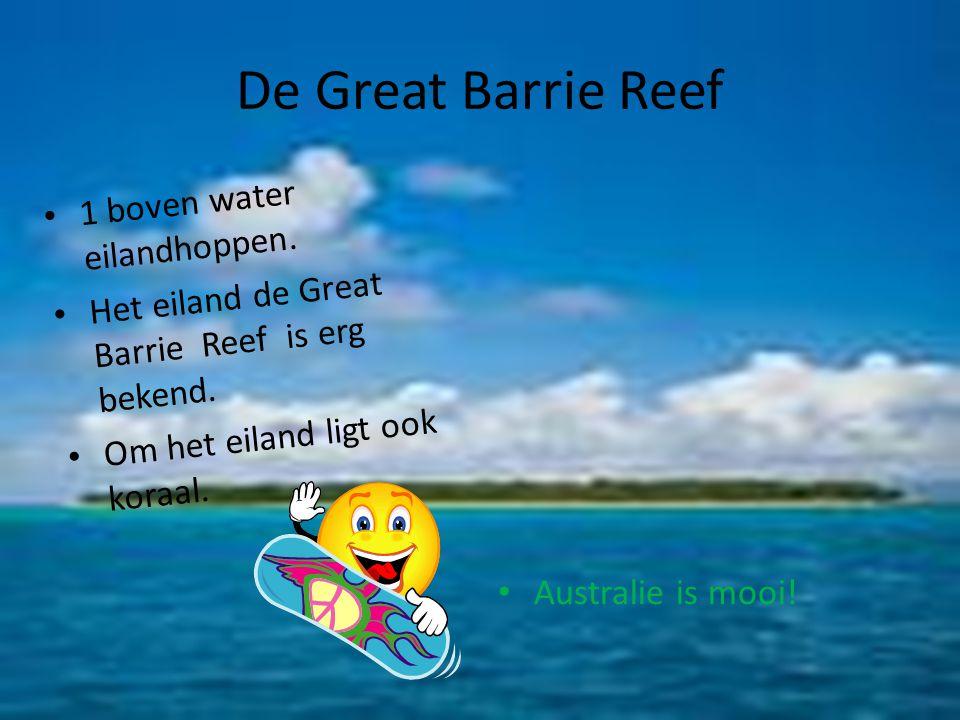 De Great Barrie Reef 1 boven water eilandhoppen. Het eiland de Great Barrie Reef is erg bekend. Om het eiland ligt ook koraal. Australie is mooi!