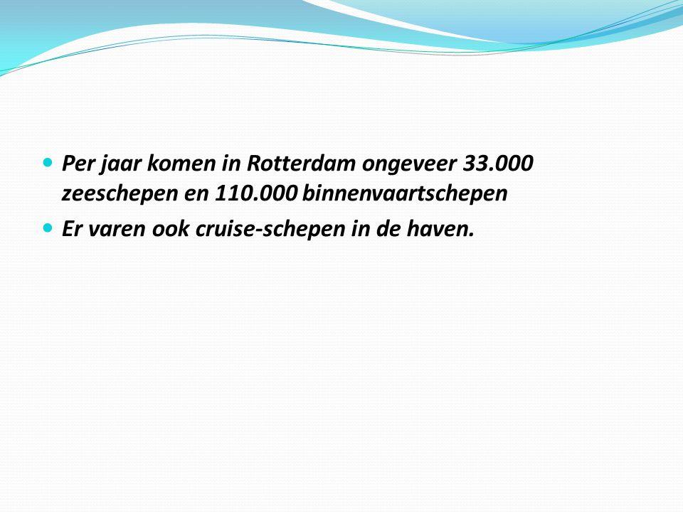 Per jaar komen in Rotterdam ongeveer 33.000 zeeschepen en 110.000 binnenvaartschepen Er varen ook cruise-schepen in de haven.