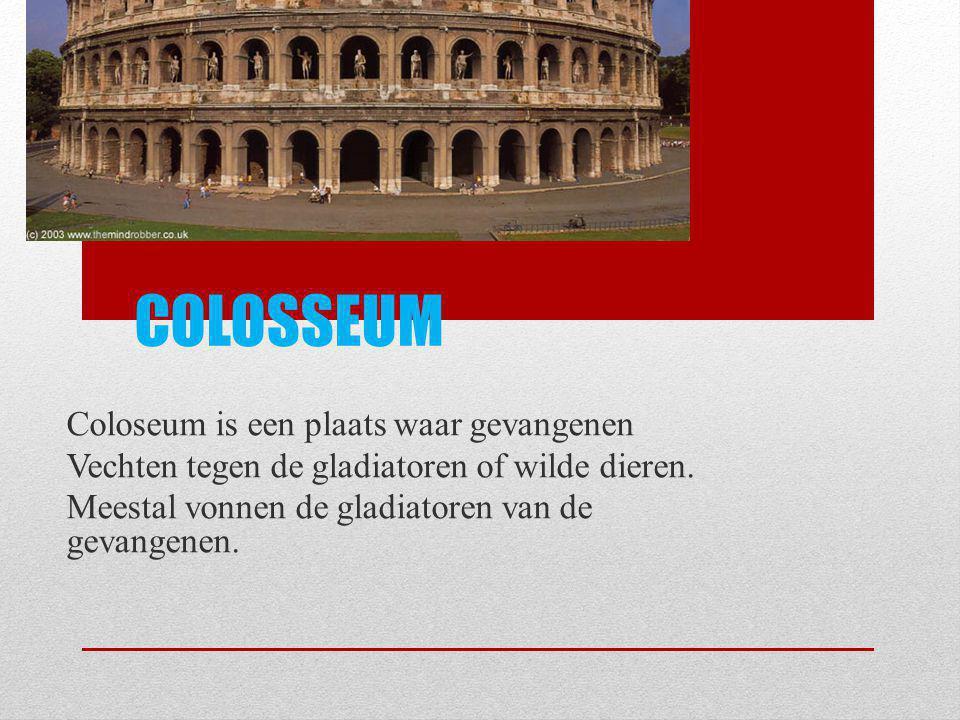 COLOSSEUM Coloseum is een plaats waar gevangenen Vechten tegen de gladiatoren of wilde dieren. Meestal vonnen de gladiatoren van de gevangenen.