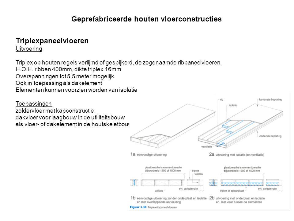 Triplexpaneelvloeren Uitvoering Triplex op houten regels verlijmd of gespijkerd, de zogenaamde ribpaneelvloeren. H.O.H. ribben 400mm, dikte triplex 16