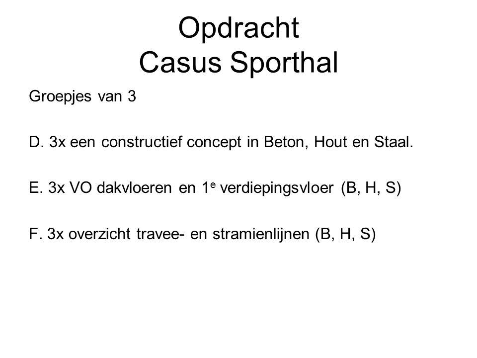 Opdracht Casus Sporthal Groepjes van 3 D. 3x een constructief concept in Beton, Hout en Staal. E. 3x VO dakvloeren en 1 e verdiepingsvloer (B, H, S) F
