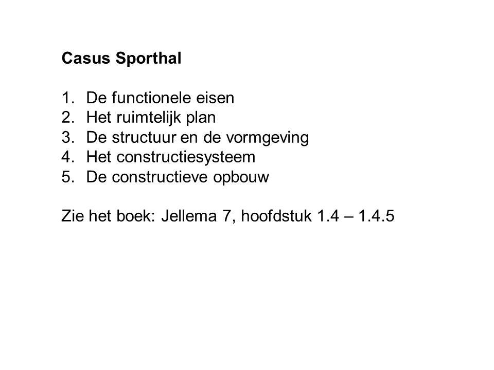 Casus Sporthal 1.De functionele eisen 2.Het ruimtelijk plan 3.De structuur en de vormgeving 4.Het constructiesysteem 5.De constructieve opbouw Zie het