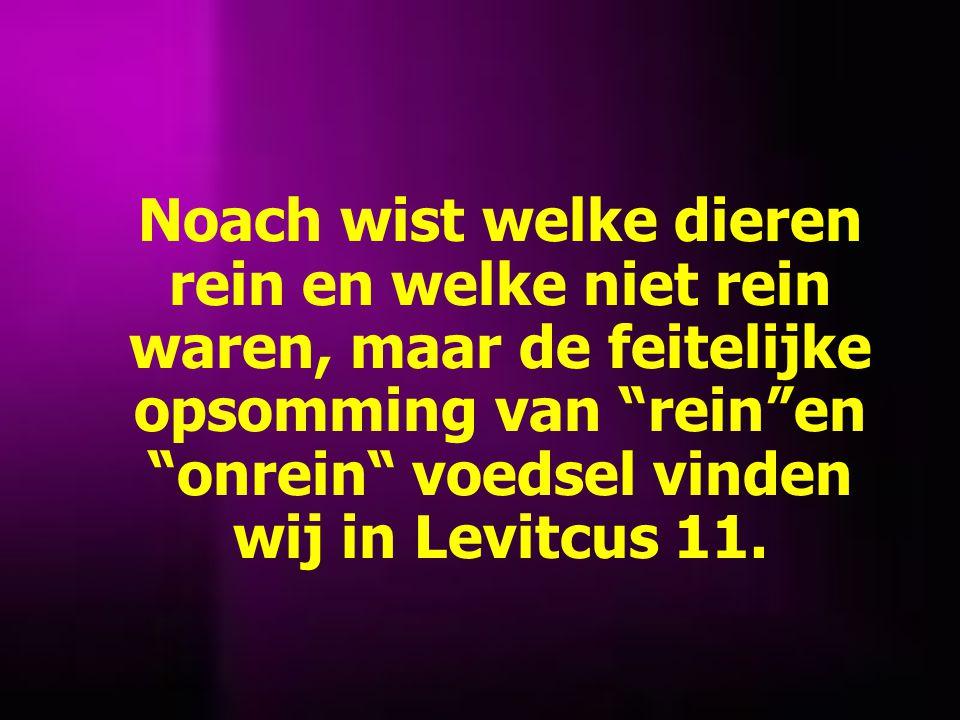 Noach wist welke dieren rein en welke niet rein waren, maar de feitelijke opsomming van rein en onrein voedsel vinden wij in Levitcus 11.