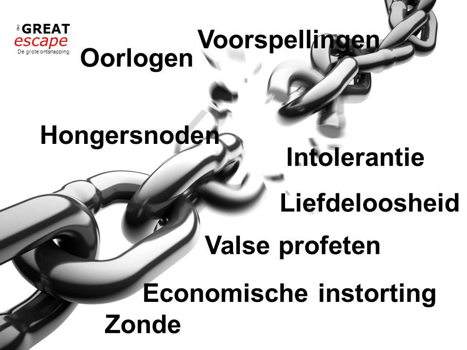 the GREAT escape De grote ontsnapping Oorlogen Hongersnoden Economische instorting Liefdeloosheid Intolerantie Zonde Valse profeten Voorspellingen