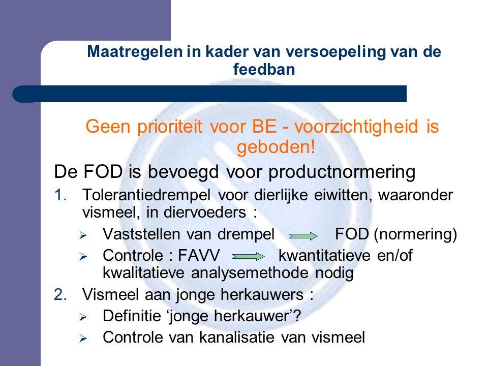 Maatregelen in kader van versoepeling van de feedban Geen prioriteit voor BE - voorzichtigheid is geboden.