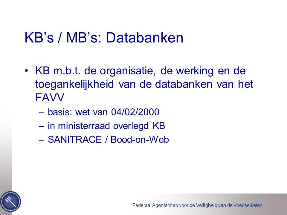 Federaal Agentschap voor de Veiligheid van de Voedselketen KB's / MB's: Databanken KB m.b.t.
