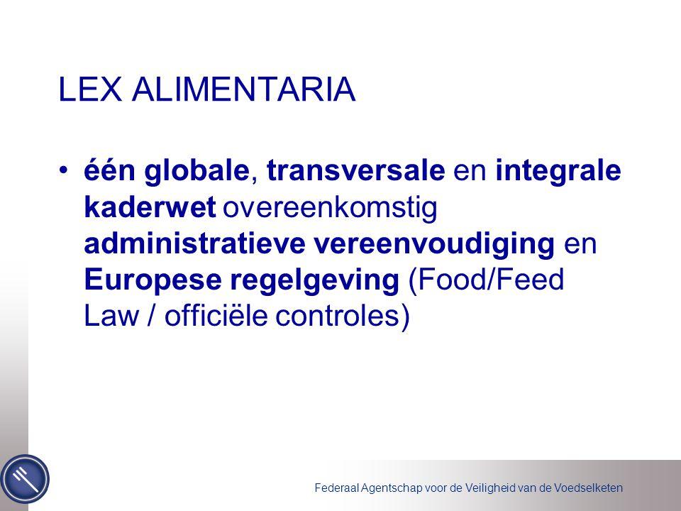 Federaal Agentschap voor de Veiligheid van de Voedselketen LEX ALIMENTARIA één globale, transversale en integrale kaderwet overeenkomstig administratieve vereenvoudiging en Europese regelgeving (Food/Feed Law / officiële controles)