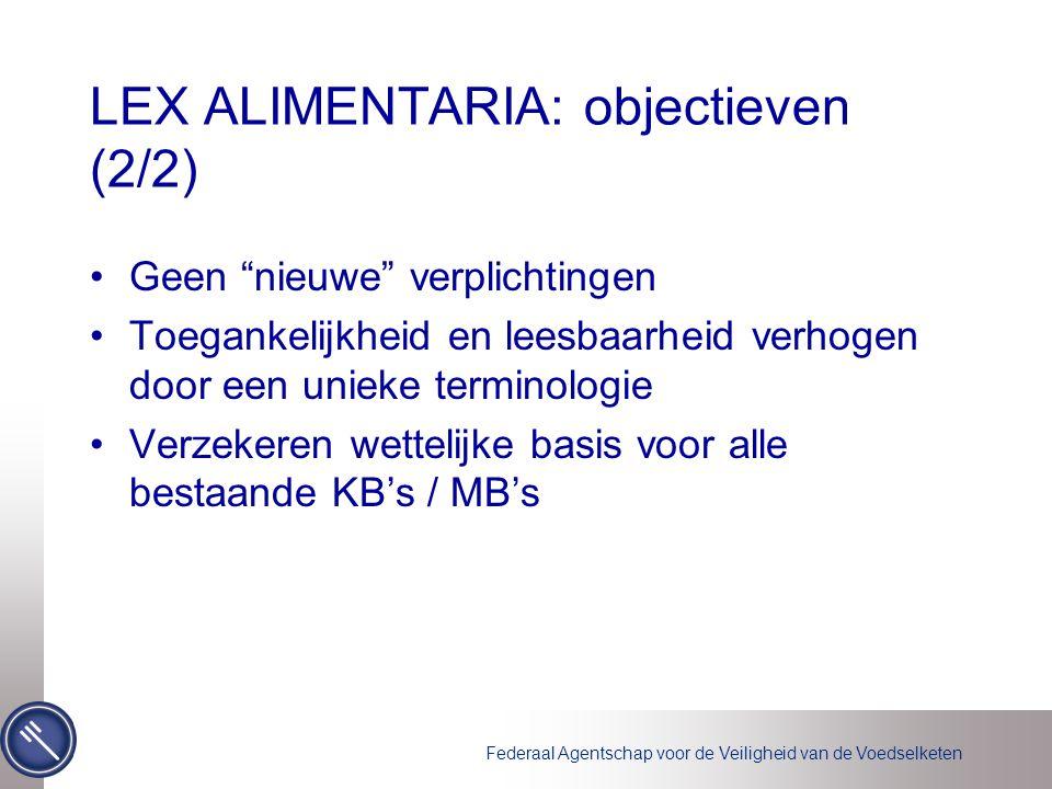 Federaal Agentschap voor de Veiligheid van de Voedselketen LEX ALIMENTARIA: objectieven (2/2) Geen nieuwe verplichtingen Toegankelijkheid en leesbaarheid verhogen door een unieke terminologie Verzekeren wettelijke basis voor alle bestaande KB's / MB's