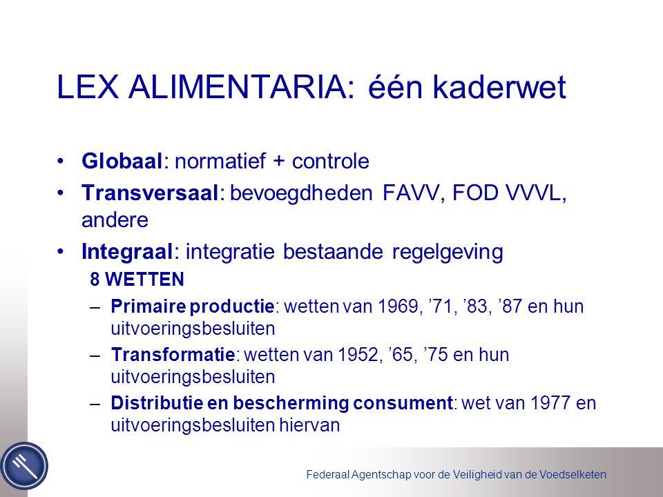 Federaal Agentschap voor de Veiligheid van de Voedselketen LEX ALIMENTARIA: één kaderwet Globaal: normatief + controle Transversaal: bevoegdheden FAVV, FOD VVVL, andere Integraal: integratie bestaande regelgeving 8 WETTEN –Primaire productie: wetten van 1969, '71, '83, '87 en hun uitvoeringsbesluiten –Transformatie: wetten van 1952, '65, '75 en hun uitvoeringsbesluiten –Distributie en bescherming consument: wet van 1977 en uitvoeringsbesluiten hiervan